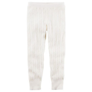 Carters Girls Size 8 Cable Knit Leggings Ivory